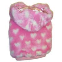 Одежда для собак, MonkeyDaze, шубка с капюшоном, розовый | S