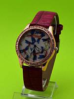 """Женские наручные часы на красном кожаном ремешке """"Танец стрекозы"""""""