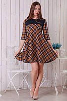 Женское платье в косую клетку с 3/4 рукавом