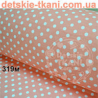 """Ткань """"Super agat"""" с горошком 6 мм на коралловом фоне (№482с)."""