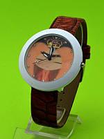 """Женские наручные часы на коричневом кожаном ремешке """"Принцесса колибри"""""""