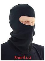 Балаклава черная флисовая теплая одно отверстие  Max Fuchs Black10908A