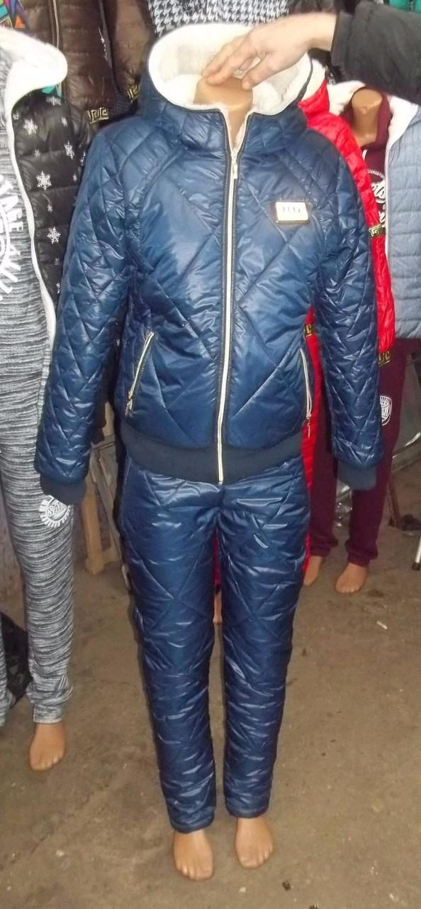 Зимний спортивный костюм на овчине синий