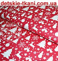 """Ткань хлопковая красного цвета """"Снеговики, ёлки, олени"""" (№484)."""