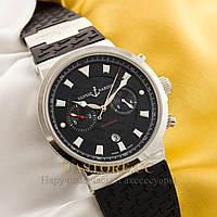 Мужские наручные часы Бельгийской сборки Ulysse Nardin silver black