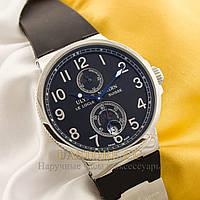 Мужские наручные часы Швейцарские Ulysse Nardin Maxi Marine silver black