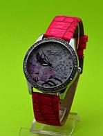 """Женские наручные часы на красном кожаном ремешке """"Весенний цвет"""""""