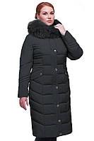 Женское зимнее пальто больших размеров.