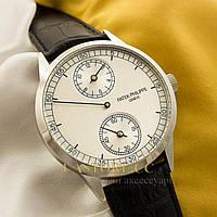 Механические мужские часы элегантные Patek Philippe Seven Days silver white