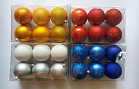 """Елочная игрушка """"Шар однотонный Микс"""" (диаметр 8 см, упаковка 6 шт), фото 1"""