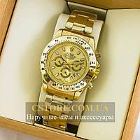 Наручные мужские часы на кожаном ремешке Rolex Cosmograph Daytona gold gold (05296)