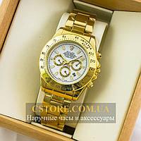 Кварцевые мужские часы Швейцарские Rolex Cosmograph Daytona gold white (05295)