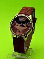 """Женские наручные часы на коричневом кожаном ремешке """"Фея роз"""""""