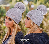Модная теплая женская шапка с помпоном (бубоном) серый