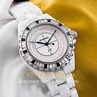 Женские часы на кожаном ремешке Chanel white white