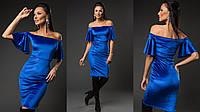 """Облегающее бархатное миди-платье """"Daby"""" с короткими рукавами-воланами (2 цвета)"""