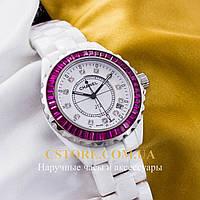 Кварцевые женские наручные часы Швейцарские Chanel pink white