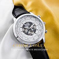 Наручные мужские часы на кожаном ремешке Breitling Transocean Chronograph silver white