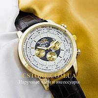 Кварцевые мужские часы Швейцарские Breitling Transocean Chronograph gold white