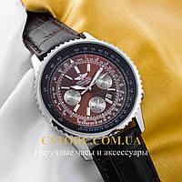 Мужские наручные часы Breitling chronometre navitimer silver brown (05783)