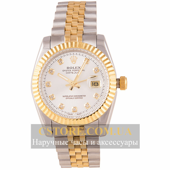 dc38448c48ab Женские наручные копия часы Rolex perpetual date just gold white (05806)