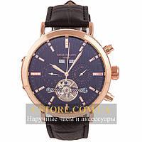 Механические мужские часы элегантные Patek Philippe Geneve gold black