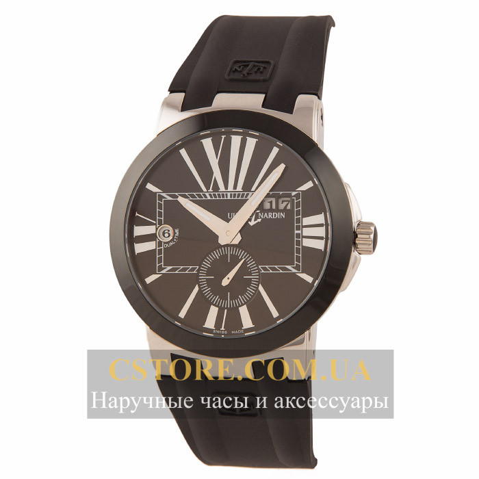 Мужские наручные часы Ulysse Nardin dual time black black (05831) -  megastore.net 28f122a5312