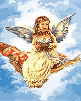 Картины по номерам 40х50 см. Ангелочек с цветком лотоса худ. Сандра Кук