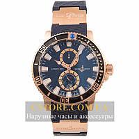 Мужские часы Швейцарские Ulysse Nardin Maxi Marine Diver Titanium gold blue