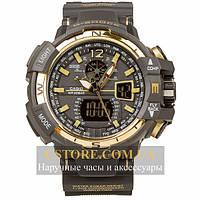 Наручные мужские часы Швейцарские Casio G-Shock GWA-1100 gold black