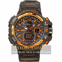 Наручные мужские часы на кожаном ремешке Casio G-Shock GWA-1100 gold black