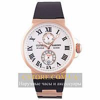 Мужские наручные часы Бельгийской сборки Ulysse Nardin Maxi Marine Chronometer gold white