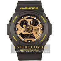 Кварцевые мужские часы Швейцарские Casio G-Shock GA-300 Black-Yellow