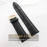 Кожаный ремешок с застежкой для часов Patek Philippe black (05875), фото 1