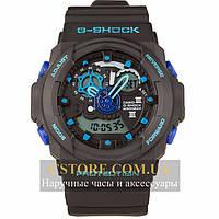 Кварцевые мужские часы на кожаном ремешке Casio G-Shock GA-300 black blue