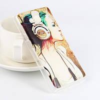 Чехол силиконовый бампер для Xiaomi Redmi 2 с рисунком Девушка в наушниках
