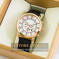 Кварцевые мужские часы Швейцарские Patek Philippe Sky Moon gold white