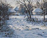 Картины по номерам на холсте 40 × 50 см. Зима Хатки Худ Геннадий Колесной.