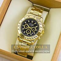 Наручные мужские часы элегантные Rolex Cosmograph Daytona gold black (05505)