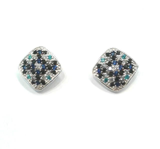 Серебряные серьги гвоздики с разноцветными камнями