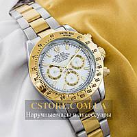 Механические мужские часы элегантные Rolex Cosmograph Daytona silver gold white (05923)