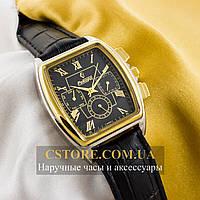 Мужские наручные часы Российской сборки Рекорд black gold silver (05938)