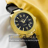 Мужские механические наручные часы Российской сборки Рекорд gold black (05944)