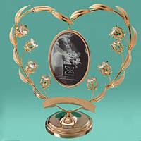 """Большая позолоченная статуэтка-рамка  Swarovski """"Сердце в цветах"""""""