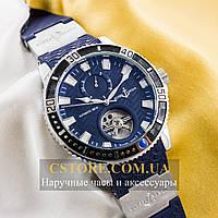 Мужские наручные часы Бельгийской сборки Ulysse Nardin Maxi Marine Diver Titanium silver blue (05949)