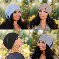 Стильная вязаная женская шапка разные цвета