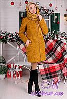 Женское зимнее пальто букле р. S,М,L арт. Сан-Ремо лайт букле хомут зима 8301