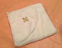 Крестильное полотенце -крыжма на махре с уголком молочное