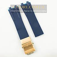 Каучуковый ремешок для часов Ulysse Nardin el toro dual time blue c застежкой gold (06121)