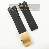 Каучуковый ремешок для часов Ulysse Nardin el toro dual time black c застежкой gold (06123)